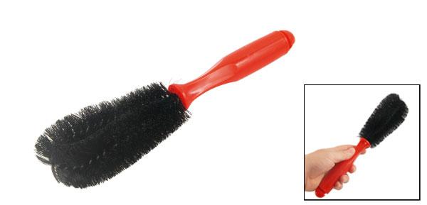 Multi Direction Motorcycle Car Wheel Spoke Brush Cleaner Black Red 10.7