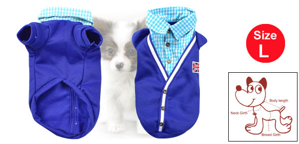 Check Print Collar Short Sleeve Blue Autumn Pet Dog Pullover Coat Shirts Size L