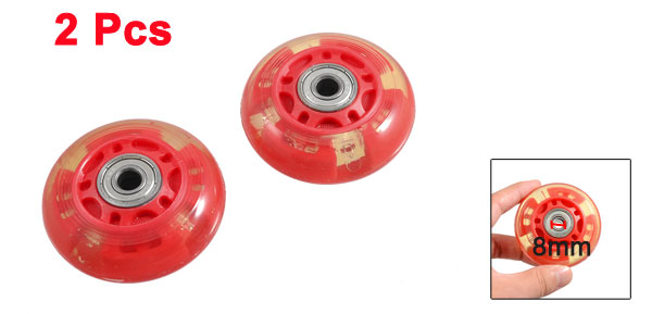 Pair 8mm Dia 608ZZ Bearing Inline Scooter Skating Skate Wheel Red