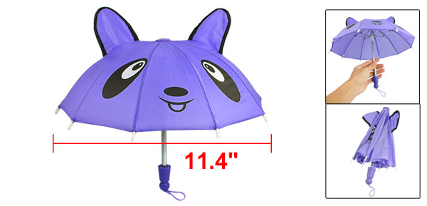 Children 10 Metal Ribs Cartoon Panda Pattern Mini Purple Umbrella Toy