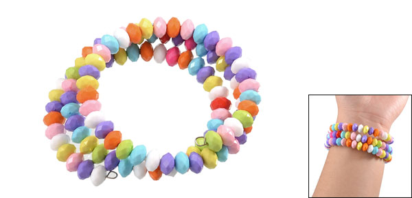 Lady Colorful Plastic Beads Multilayer Flexible Bracelet Bangle