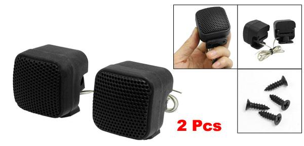 2x Foldable Mini Car Audio Dome Tweeter Speakers Black 50W