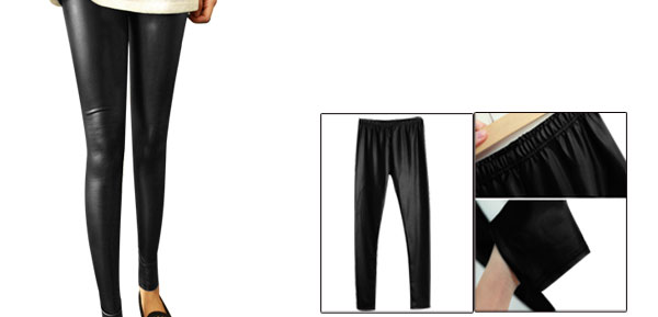 Ladies Black Full Length Elastic Waist Skinny Slim Fitting Leggings XS