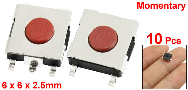 10 Pcs 6x6x2.5mm PCB Momentary Tact Push Button Switch 4 Pin SMD