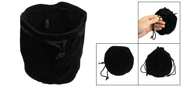 Black Draw String Soft Flannel Carrying Pouch Case Black for SLR Camera Lens