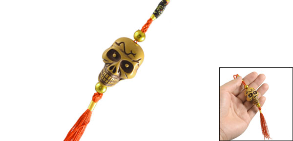 Auto Car Yellow Plastic Skull Head Pendant Red Tassels Chinese Knot Ornament