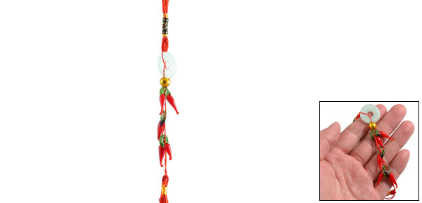Auto Car Faux Jade Pepper Shape Pendant Red Tassels Chinese Knot Ornament