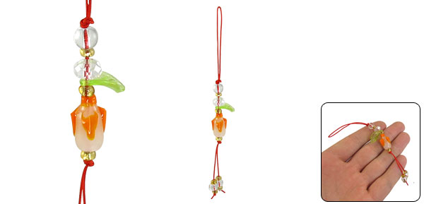 Green Plastic Leaf Faceted Bead Detail Phone Strap for Cell Phone