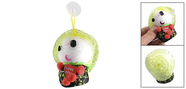Smile Face Flowers Print Body Shake Noise Green Hat Hatted Baby Doll Toy