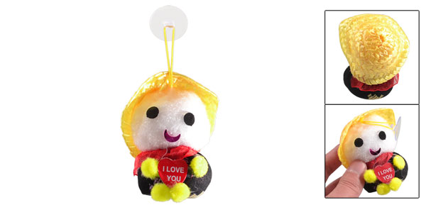 Red Scarf Round Hands Feet Shake Noise Yellow Straw Hat Hatted Baby Doll Toy