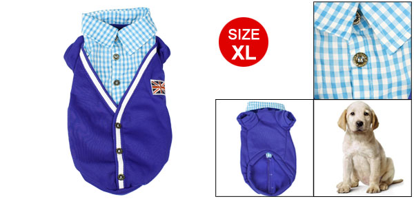 Check Pattern Point Collar Pet Dog Clothes Autumn Shirts Coat Apparel Blue XL