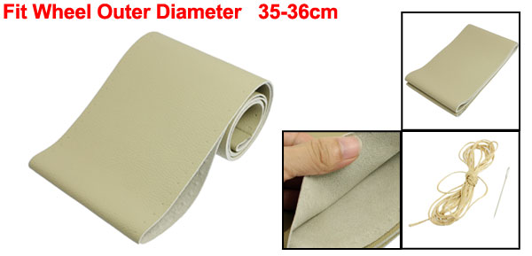 35-36cm Litchi Pattern Faux Leather Auto Car Steering Wheel Cover Beige Kit