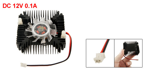 Black Plastic 11 Paddle Square DC 12V 0.1A Video Card Cooler Fan