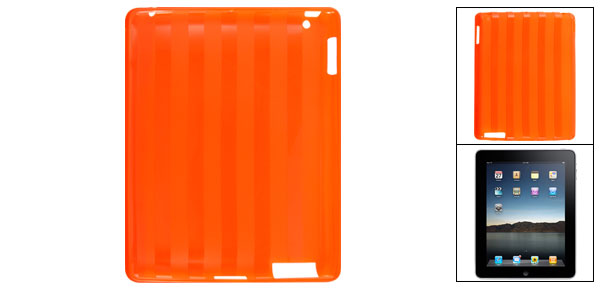 Orange Nonslip Soft Plastic Striped Case Protector for iPad 2GS 3GS