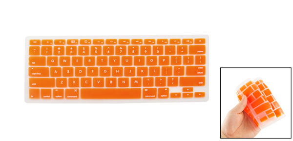 Soft Silicone Keyboard Cover Film Protector Orange for Apple Macbook Pro