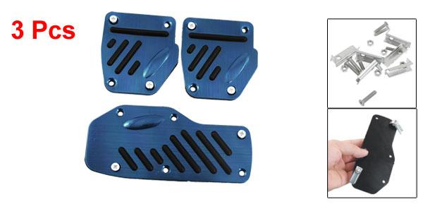 3 Pcs Blue Aluminum Alloy Rubber Car Automobile Auto Non-slip Pedal Cover