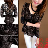 Ladies Goldenbrown Long Sleeves Sweetheart Neckline Lace Sexy Shirt XS
