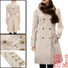 Ladies Beige Split Lapel Long Sleeve Autumn Elegant Casual Trench...