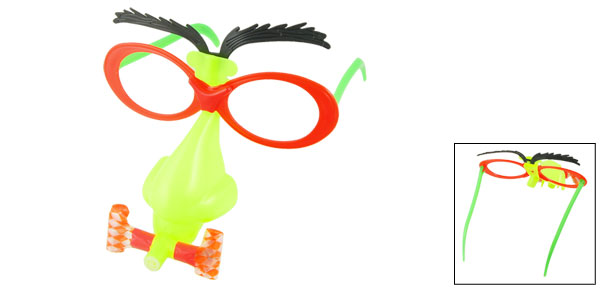 Red Frame Pale Green Big Nose Black Moving Eyebrow Funny Glasses Toy w Whistle
