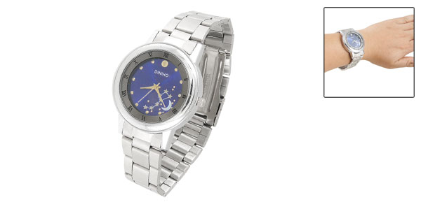 Men Moon Stars Detail Dial Stainless Steel Band Watch Silver Tone