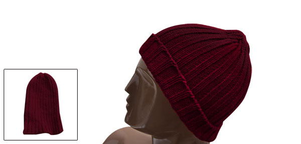 Unisex Dark Red NEW Simple Knitting Textured Elastic Casual Beanie Hat