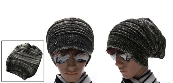 Men Black Off-White Textured Design Stretch Knit Cap Beanie Hat