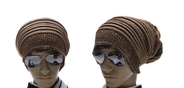 Men Coffee Dark Khaki Knit Thick Warmer Ribbing Cuff Beanie Hat