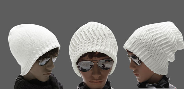 Men White Knitted Textured Reversible Design Casual Beanie Hat Cap