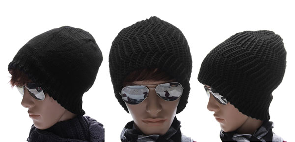 Men Black 2012 NEW Textured Solid Color Stretch Beanie Hat