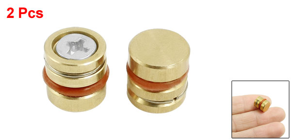 Gold Tone Orange Metal 10mm x 10mm Brass Pressure Plug 2 Pcs