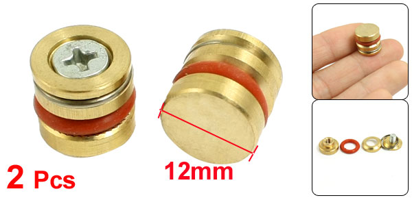 Gold Tone Orange Metal 12mm Diameter Brass Pressure Plug 2 Pcs