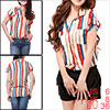 Woman Roll up Short Sleeve Point Collar Stripe Shirt Red Dark Blu...