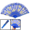 Blue Plastic Ribs Glittery Flower Print Foldable Dancing Hand Fan...