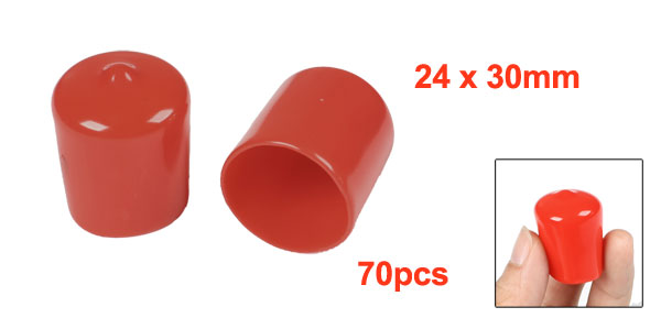 70 Pcs 30mm Height 22mm Inner Dia Round Tip Red PVC Insulated End Caps