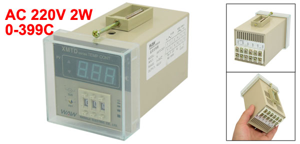 AC 220V 2W Screw Terminal PV Digital Temperature Controller 0-399C