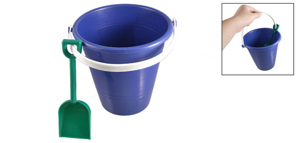 Children Blue Plastic Beach Pail Bucket Green Shovel Toy Set