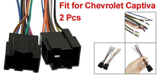 2 Pcs Car DVD Audio Stereo Wire Harness Male for Chevrolet Captiva