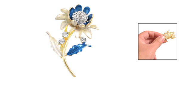 Woman Glittery Rhinestone Centering Sky Blue Sunflower Pin Brooch Breastpin
