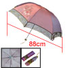 Women Folding Parasol Floral Pattern Sun Umbrella Burgundy