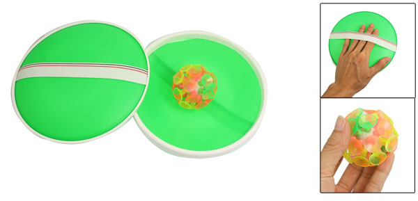 Child Pair Green Catchers Colorful Silicone Suction Ball Toss Game Toy