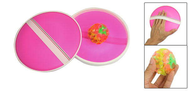 Child Pair Fuchsia Catchers Colorful Silicone Suction Ball Toss Game Toy
