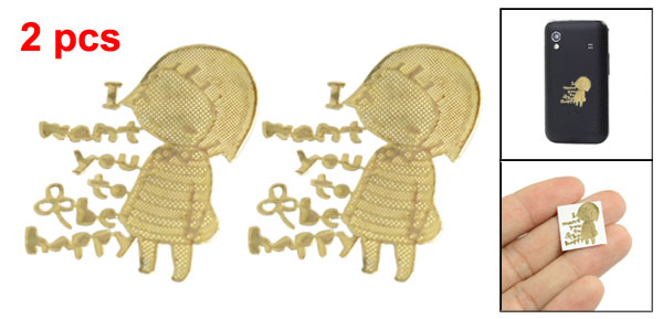 Cartoon Girl Design Radiation Resistant Plating Gold Tone Stickers 2 Pieces