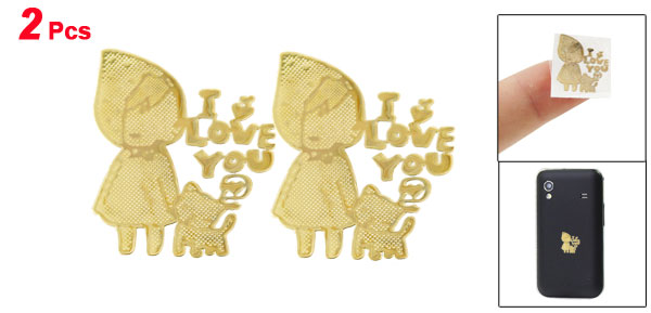 Gold Tone Plating Girl I Love You Letters Stickers 2 Pcs