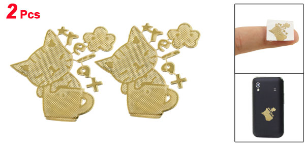 Cartoon Cat Cup Pattern Gold Tone Plating Stickers 2 Pcs