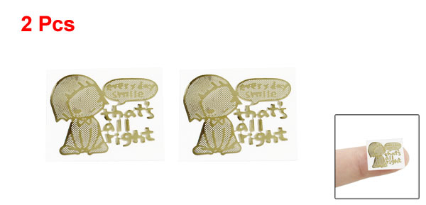2 x Gold Plating Girl Sitting Radiation Resistant Stickers for LCD Monitor