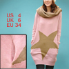 Ladies Pink Khaki Crew Neck Stars Prints Pullover Autumn Sweater ...