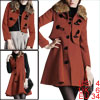 Women Rust Color Single Breasted Coat w Single Breasted Fall Warm...