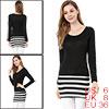 Allegra K Ladies Scoop Neck Long Sleeves Stripes Slim Fit Tunic T...