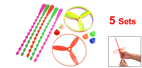 Child Kids Hand Spin Tri Colors Shooters Spinning Flying Disc Toys 5 Pcs