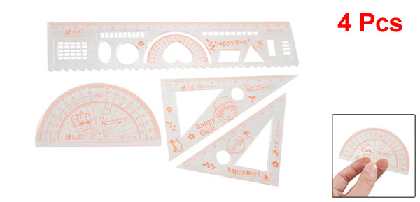 4 Pcs Set Printed Transparent Orange Plastic Measuring Ruler Protractor